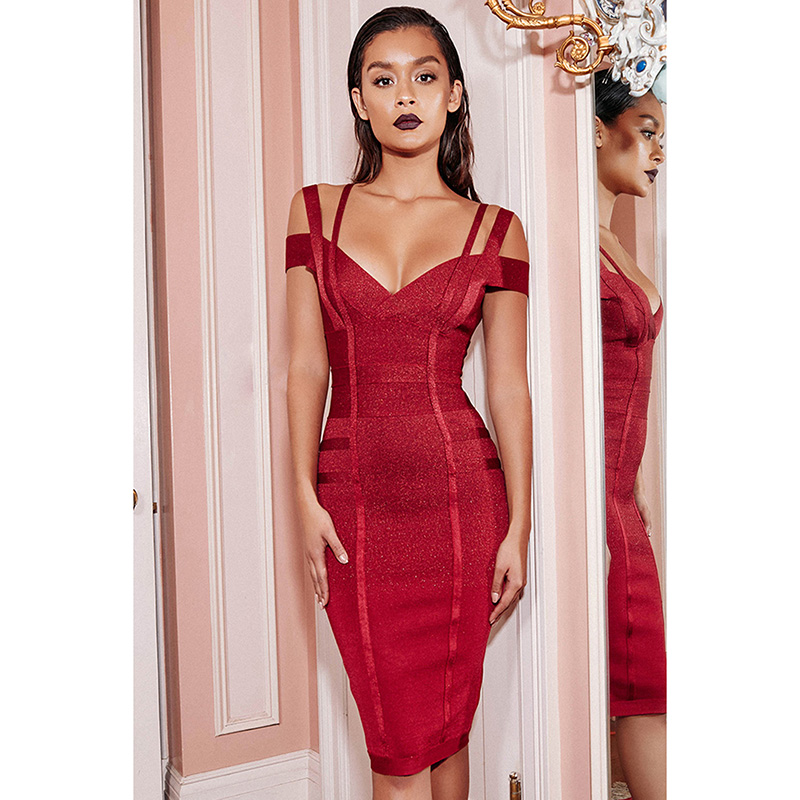 Female Off Shoulder Backless Midi Dresses Sexy Fashion V Neck Party Wear Red Wine Knee Length Dress Christmas Vestidos Hot
