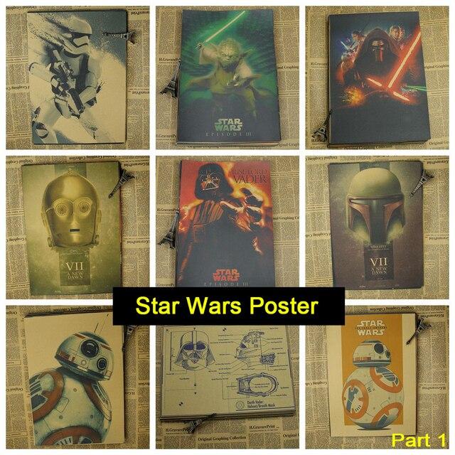 Star Wars Vintage Retro Matte Kraft Paper Antique Poster Wall Sticker Home Decora Part 1