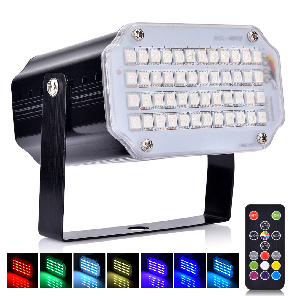 Strobe Stage Light Disco Bar Music Party 48 RGB Remote Control Mini Stage Lights Festival Glow Party Supplies Carnival Lighting (4)