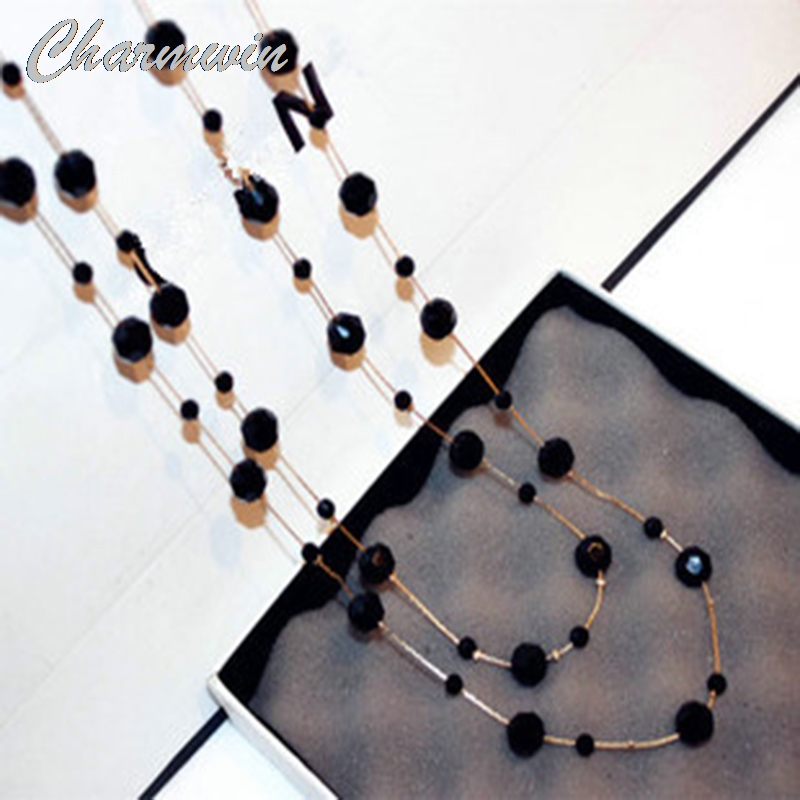 Charmwin Classic Black Crystal Beads Long Necklaces