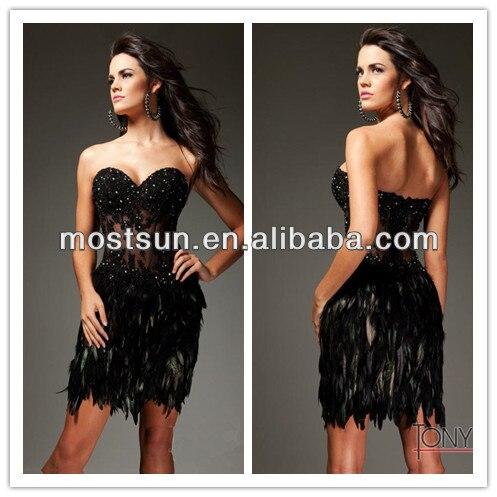 Ev714 Sweetheart Sexy See Through Corset Prom Dress Short Black