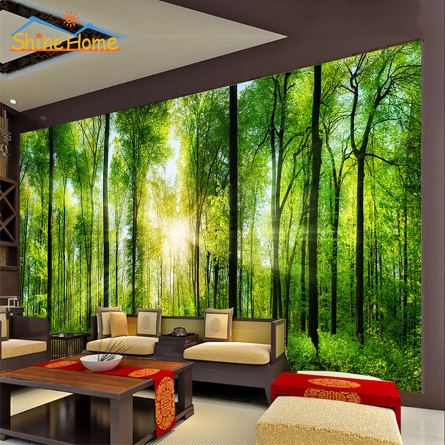 2017 Bright Sunshine In Forest Trees Wallpaper For Wall 3 D Flooring Photo Printed