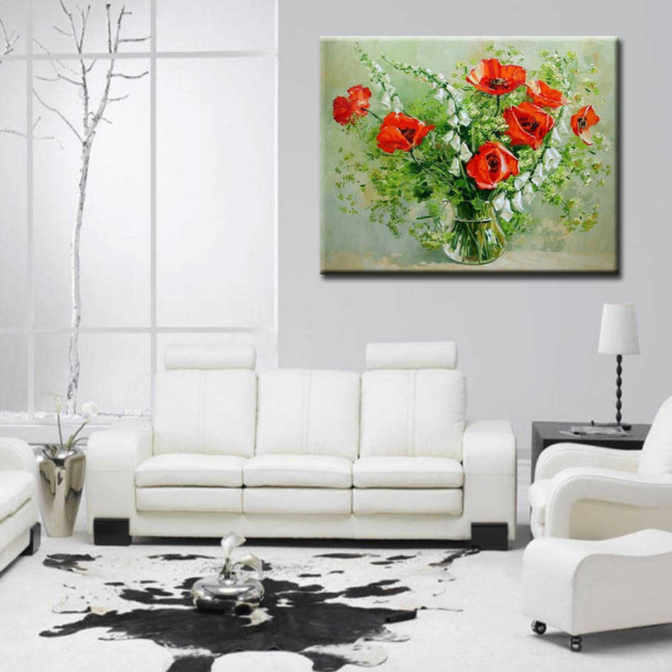 WEEN red flower plant-DIY oil paint by numbers for kids, Hand-painted painting by numbers kit on canvas drawing, Acrylic Paint