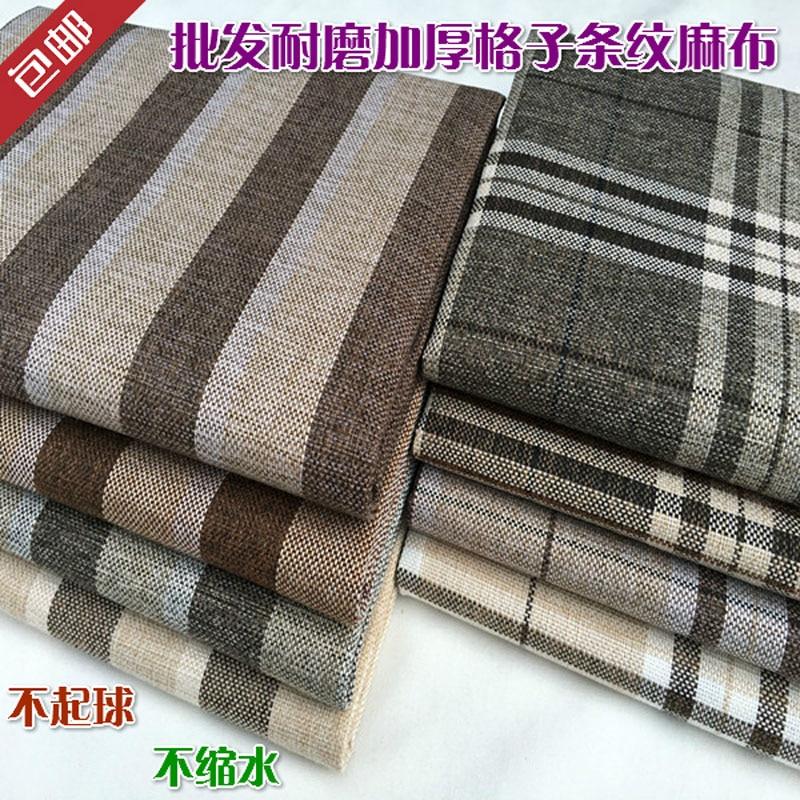 Quality thickening sofa linen fabric stripe plaid fluid car covers cushion table cloth diy