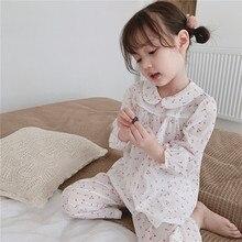 Весна и лето белый мягкая Пижама комплект для девочек Дети тонкий хлопок набор для купания удобные вишня пижамы одежда сна комплект