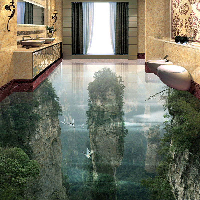 Custom Photo Floor Wallpaper 3D Cliffs Mountain Peaks Living Room Bathroom 3D Floor Tiles Mural PVC Self-Adhesive Wallpaper Roll