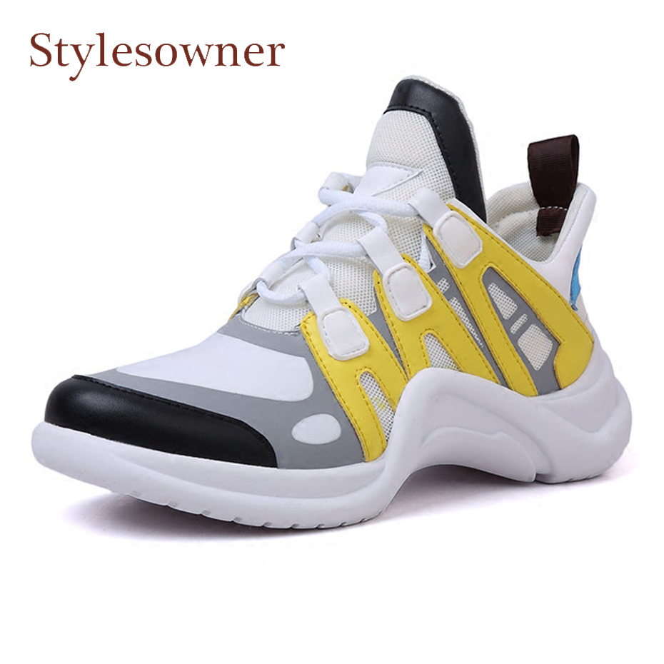 Stylesowner 2018 newest mixed color thick bottom dad shoes breathable mesh patchwork genuine leather women sneakers casual shoes casual women sandals 2017 summer shoes mixed color mesh breathable garden shoes outdoor mules