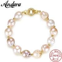 Baroque Pearl Bracelet New Simple 925 Sterling Silver Freshwater Pearl Bracelet Gold buckle For Women Best Birthday Jewelry