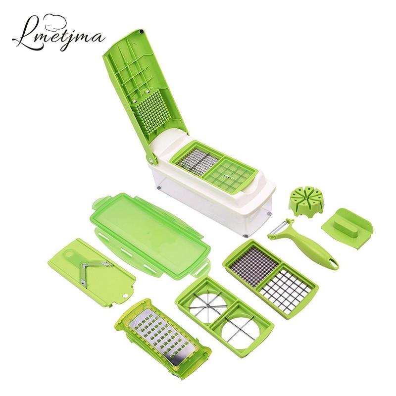 LMETJMA 12 in 1 Multifunctional Mandoline Nicer Dicer Adjustable Mandoline Vegetable Slicer Kitchen Vegetable Chopper LK0723A