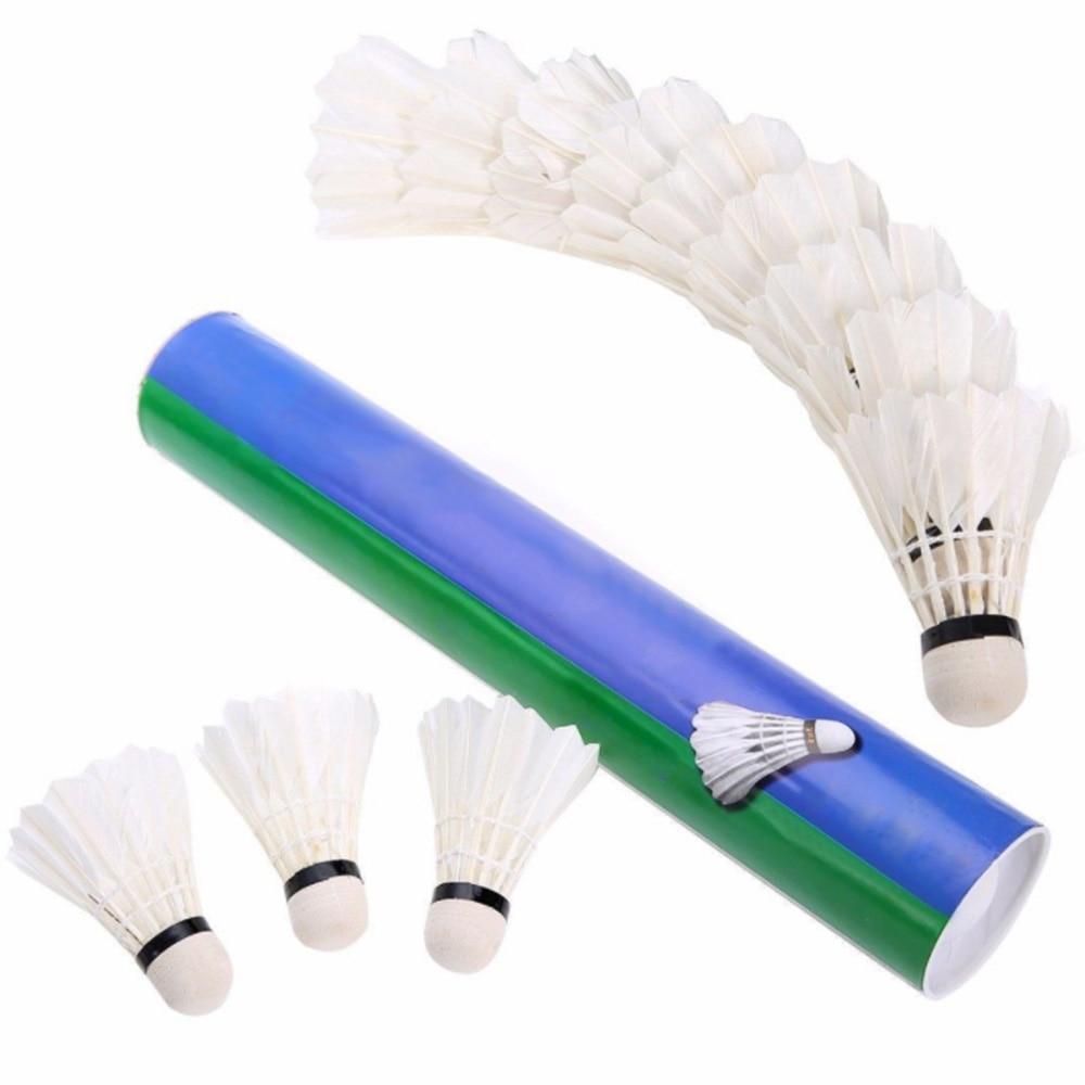 12 Pcs White Badminton Shuttlecock Goose Feather Birdies Flying Stably Durable Battledore Badminton Shuttle Cocks For Training