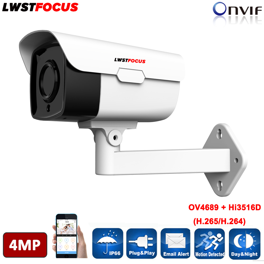 4 pz Array Led 4MP macchina fotografica del IP di POE LWBW60S400 con 5MP 6mm len lunga distanza di IR 60 m All'aperto uso impermeabile IPC web cam WDR IR CUT