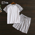 Plus size Summer cotton short sleeve shorts sets men pure color leisure sleepwear male Korean pajama sets for men pijama hombre