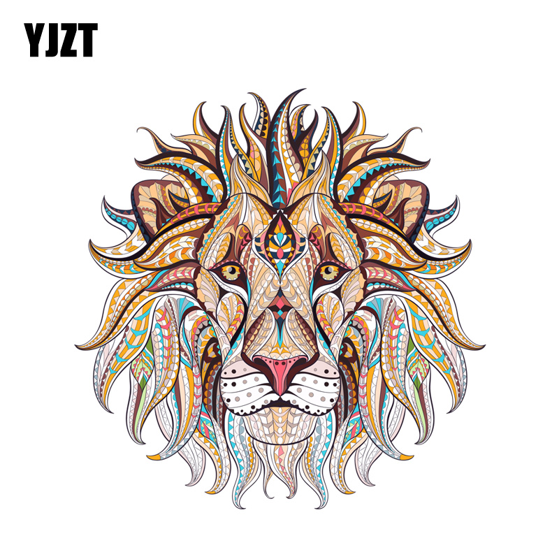 YJZT 12.6CM*12.9CM Beautifully Decorated Lion Head PVC Motorcycle Car Sticker 11-00636(China)