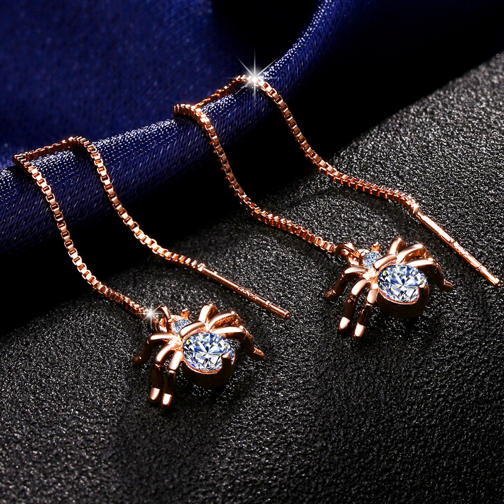 Brand Spide Pattern Clear Cubic Zirconia Cut Dangle Earrings Jewelry for Women Gift Rose Gole Plated Long Chain Drop Earrings