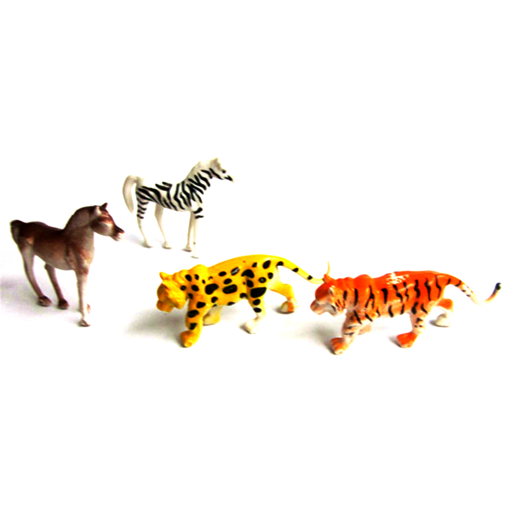 4Pieces Plastic Zoo Animal Figure Tiger Lion Zebra Lovely Animal Models Action Toys Gift