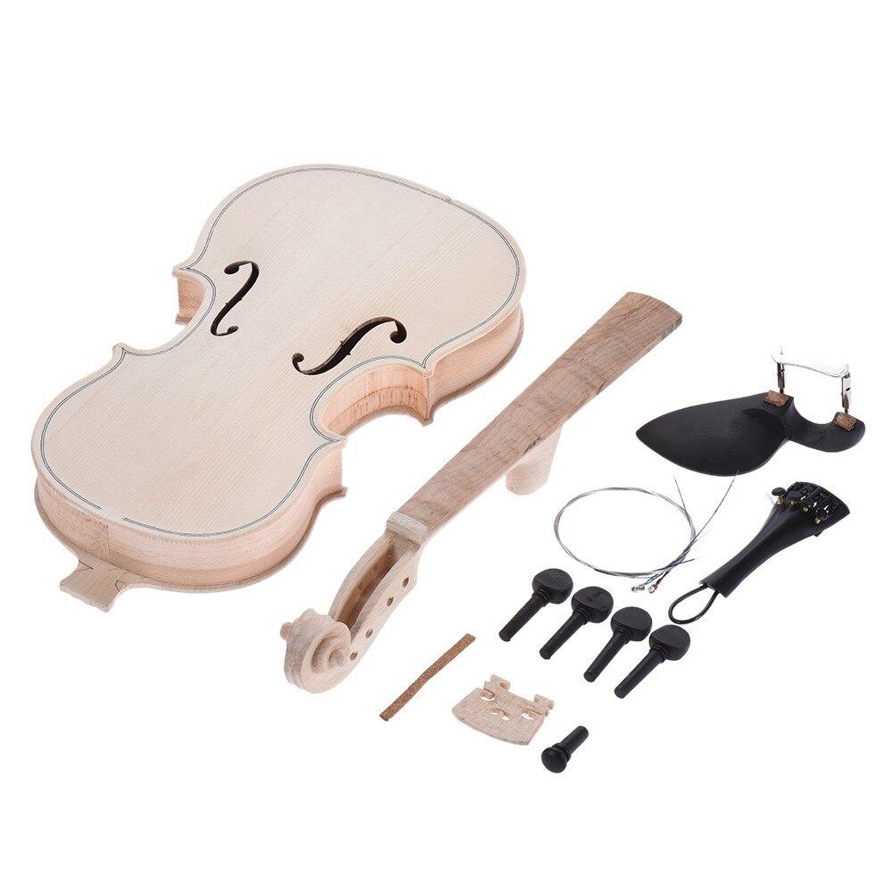 DIY 4/4 Natural Solid Wood Violin Set Maple Back Neck Fingerboard handmade new solid maple wood brown acoustic violin violino 4 4 electric violin case bow included