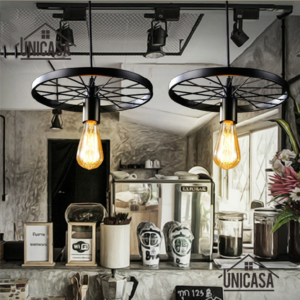 Vintage Black Pendant Lights Industrail Wrought Iron Lighting Hotel Kitchen Island Home Office Antique Mini Pendant Ceiling Lamp