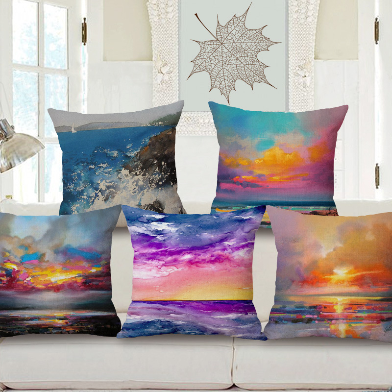 Landscape Ink Painting Style Cotton Pillow Cloud Pattern By Pillowcase Sofa  Cushion Covers Home