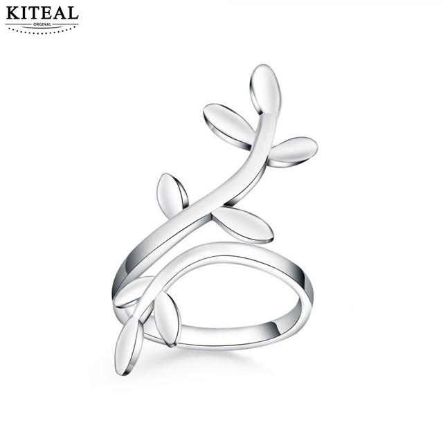KITEAL 2018 New silver ring 925 stamp Flower tree of life Leaf Ring exaggerated