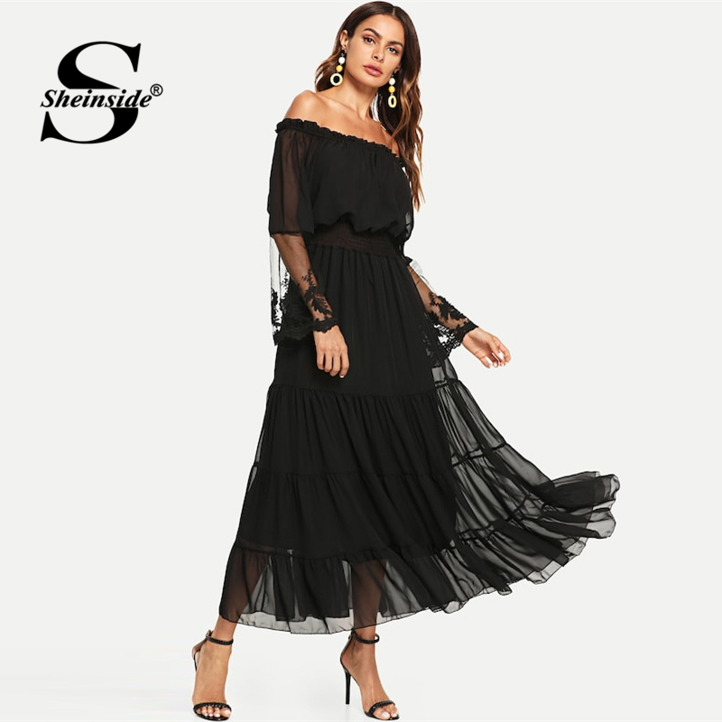 fc04c3895c COLROVIE Black Sheer Mesh Off The Shoulder Lace Panel Party Dress 2018  Autumn Ruffle Long Sleeve Women Dress Trapeze Maxi Dress