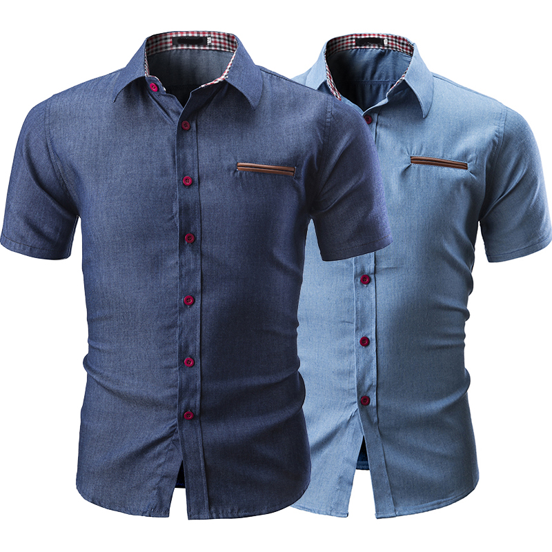 2019 New Casual Fashion Solid Color Collar Color Matching Pocket Button Decoration Men's Jean Short Sleeve Shirt