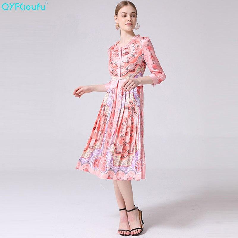 QYFCIOUFU 2019 été rose robe plissée femmes Floral imprimé élégant robe mi-longue à volants 3/4 manches mode luxe robe de piste