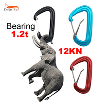 2 Pieces 12KN 7075 Aluminum Alloy Snap Carabiner Keychain for Mountaineering Climbing Backpack Hammock Black Red Blue Color