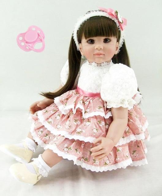 60cm Silicone Reborn Baby Doll Toys Sweet Princess Long Hair Toddler Babies Dolls Fashion Birthday Present