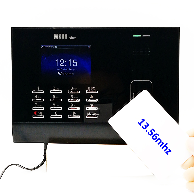 Standalone M300plus 13.56Mhz Proximity Rfid Card Time Attendance Linux System Color LCD Card Attendance System Time Recording