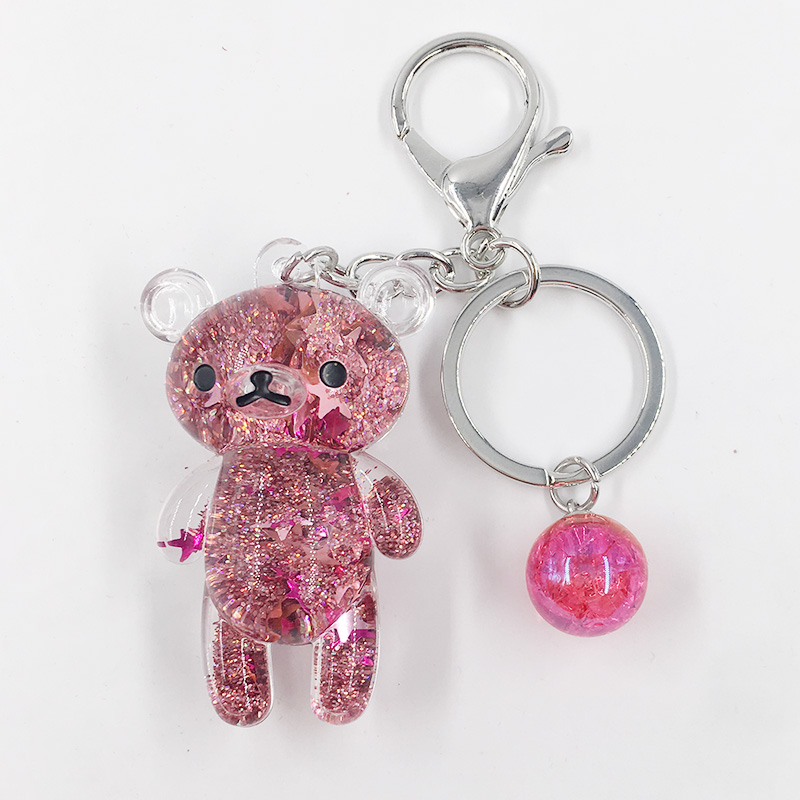 Bear Powder Moving Liquid Key Ring Fantasy Keychain Glitter   Quicksand Star Keychain Car Key Pendant Creative Birthday Gift