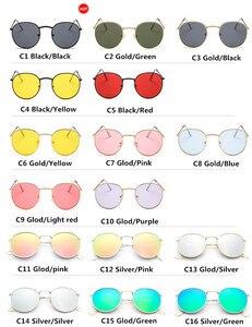 DJXFZLO الرجعية البيضاوي النظارات الشمسية النساء/الرجال العلامة التجارية مصمم خمر صغيرة أسود أحمر أصفر ظلال نظارات شمسية Oculos دي سول