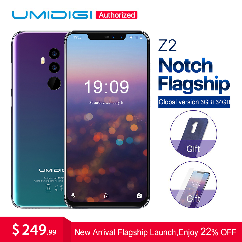 "UMIDIGI Z2 6.2""Notch Full Screen smartphone Android 8.1 6GB RAM 64GB ROM Helio P23 Octa Core 16MP Quad Camera 4G LTE Cell Phones"
