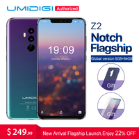 UMIDIGI Z2 6.2Notch Full Screen smartphone Android 8.1 6GB RAM 64GB ROM Helio P23 Octa Core 16MP Quad Camera 4G LTE Cell Phones