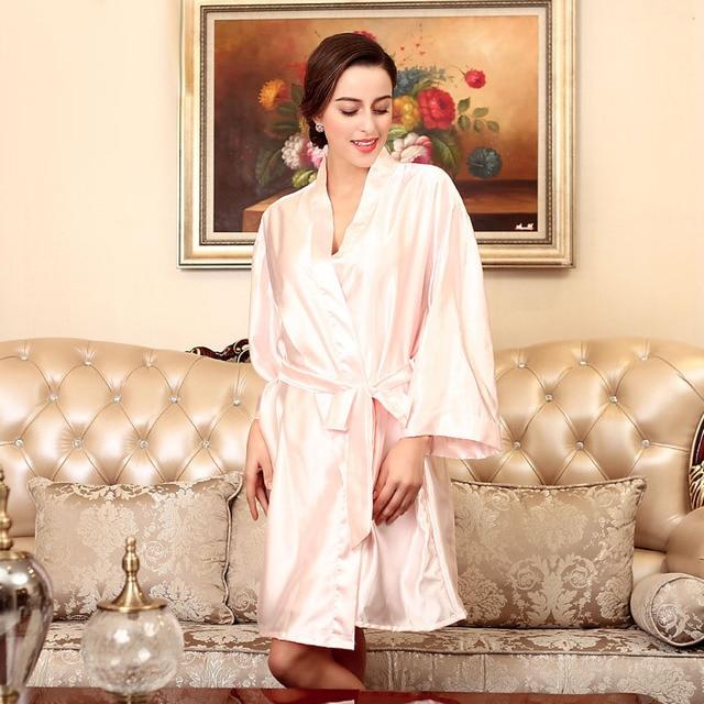 Ladies\' Bridesmaid Robes Faux Silk Satin Bathrobe Women Dressing ...
