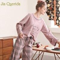 Fashion Pajamas Women 2019 New Trendy Cotton Home Wear 100% Cotton Brand Pajama Set Pink Printing Plaid Loose Style Sleepwear