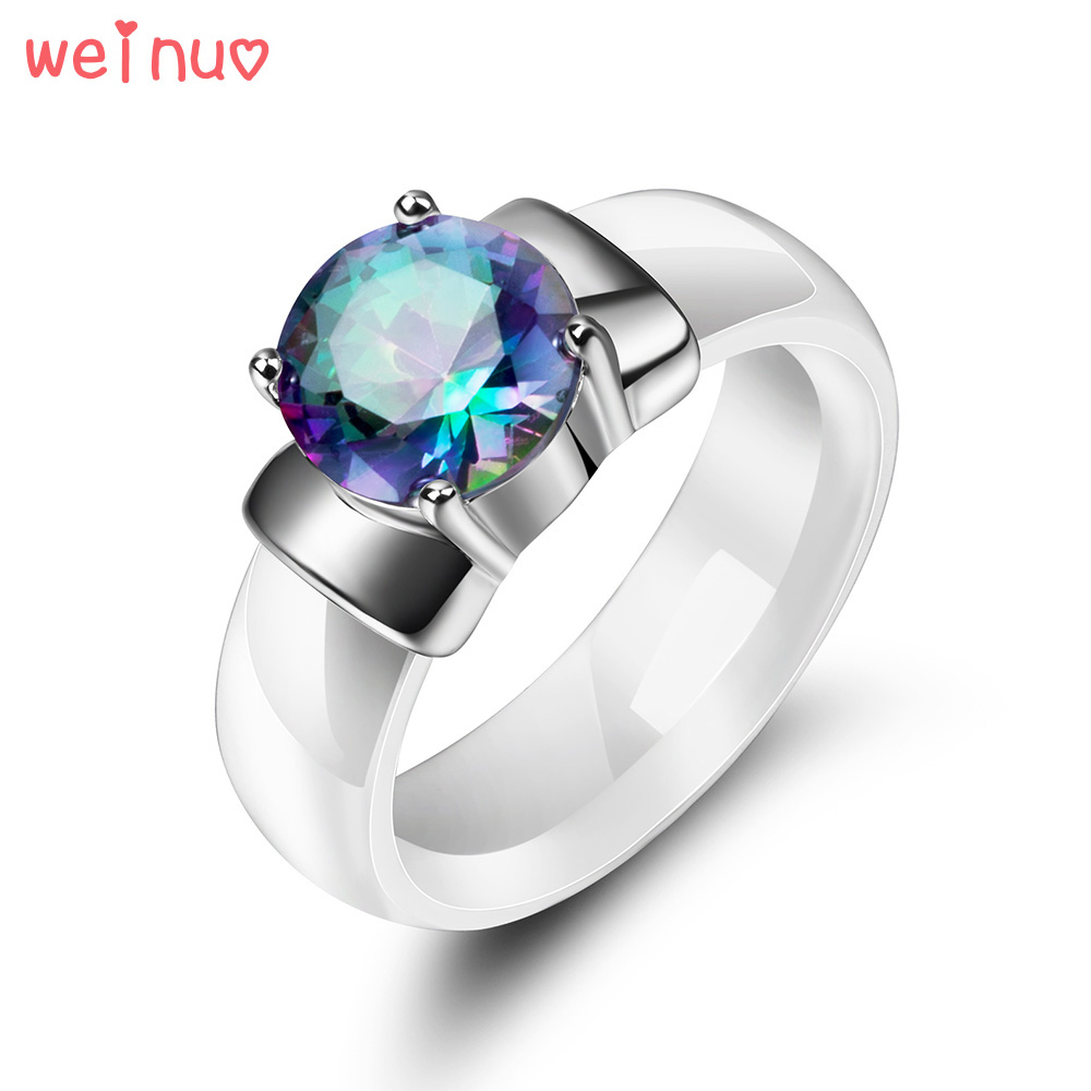 Weinuo Rainbow Fire Mystic Crystal Zircon Ring Solid 925 Sterling Silver Jewelry Best Gift For Women White Ceramic Wedding Ring