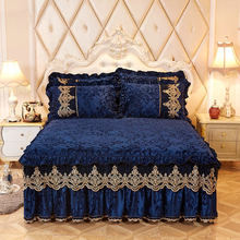 Royal blue Princess Bedding Bed Skirt Set Pillowcases Velvet Thick Warm Lace Bed Sheets 1/3pcs Mattress Cover King Queen size(China)