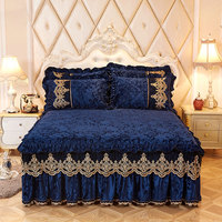 Royal blue Princess Bedding Bed Skirt Set Pillowcases Velvet Thick Warm Lace Bed Sheets 1/3pcs Mattress Cover King Queen size