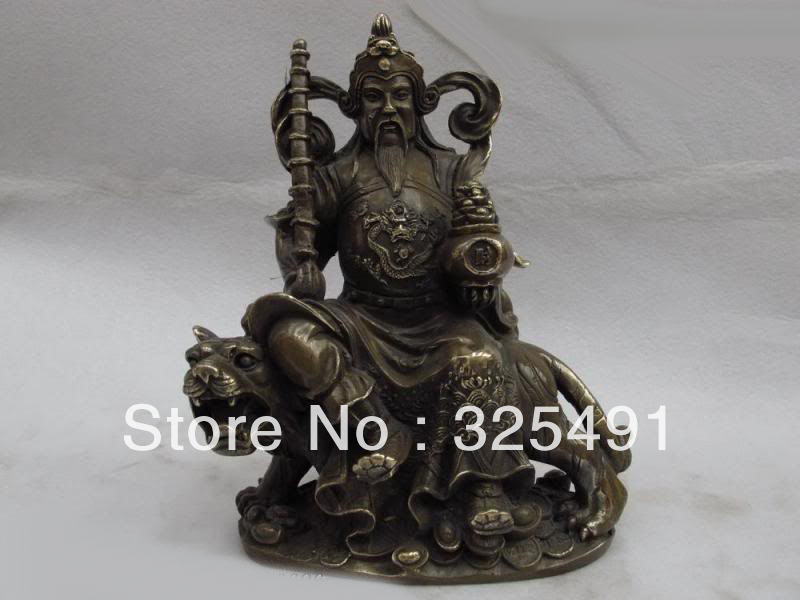 China Brass copper Dragon Mammon Warrior Wealth God Ride Tiger Fengshui Statue z