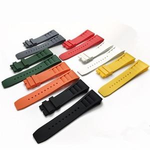 Image 1 - MERJUST 20mm Rood Zwart Groen Grijs Oranje Geel Zachte Siliconen Rubber Horlogeband Voor Richard Horloge Mille RM011 Band Armband