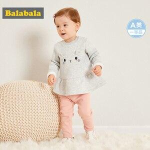 Image 2 - Balabala תינוקת 2 חתיכה מרופד פרווה תרמית 3D באני סווטשירט שמלה + למשוך על מכנסיים סט חורף תינוקות יילוד תינוק בגדים