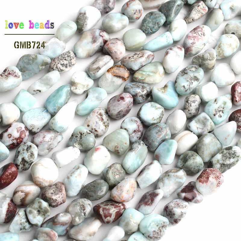 6-8mm naturalne nieregularne Larimar kamień koraliki do tworzenia biżuterii bransoletka Zrób To Sam 15''Strand luźne koraliki modułowe