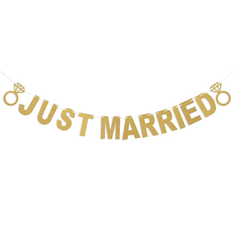 BESTOYARD 3M JUST MARRIED Letter and Ring Design Glitter Paper Banners Bunting Garlands Photo Booth Props For Wedding Decoration