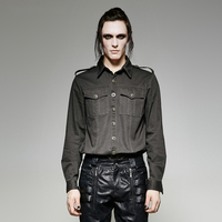 Steampunk Men S Handsome Military Uniform Shirts Spring Summer Gothic Green Fashion Casual Long Sleeve Cotton
