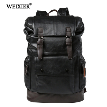 цена на WEIXIER 2019 New Preppy Style Men Brand PU Leather Man Backpack Daypack Bag Front Pocket Travelbag Casual School Laptop Backpack