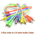 Red/ Purple/Yellow/Green/ Blue Jack 3.5mm to 2 RCA audio cable adapter male to male cable for iPod Mp3 Mp4 Player Mobile Phone