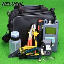 KELUSHI 21pcs/set FTTH Fiber Optic Tool Bag with HS-30 Fiber Cleaver -70~+10dbm Optical Power Meter 10mW Visual Fault Lcator