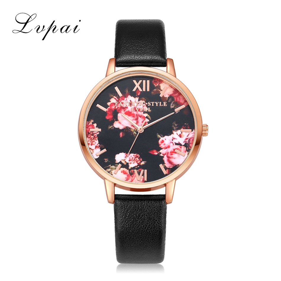 Hot Sale Lvpai Famous Brand Rose Gold Dress Watches Flowers Leather Fashion WristWatches Women Luxury Quartz Watch Gift Clock