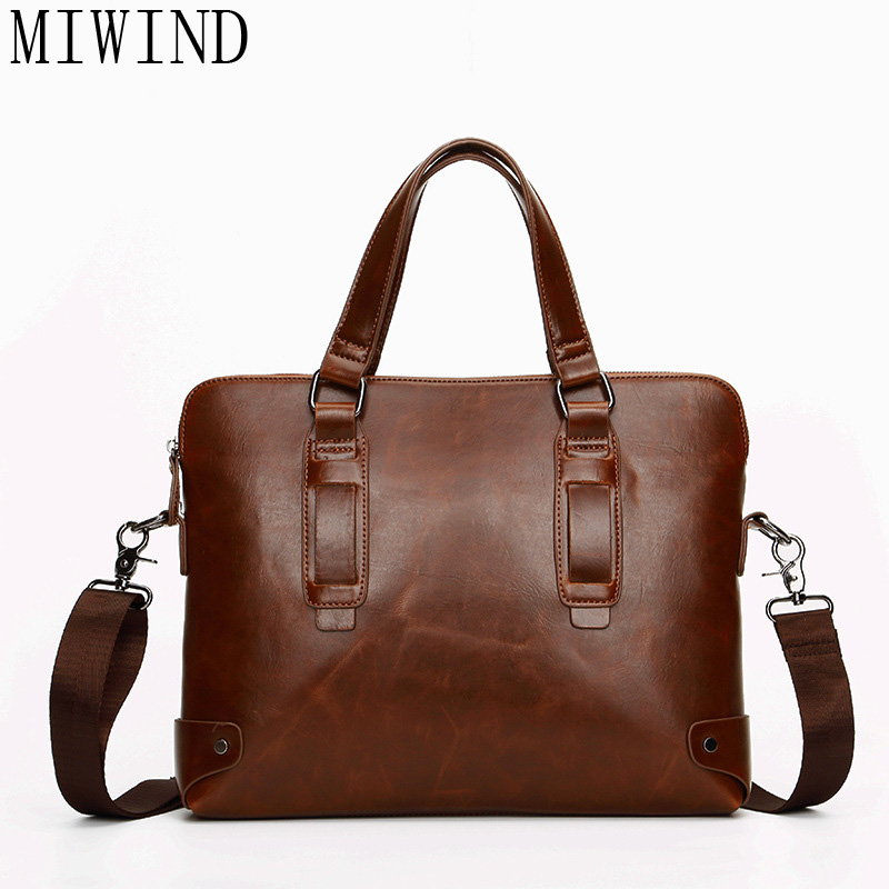 MIWIND Men Casual Briefcase Business Shoulder Bag pu Leather Messenger Bags Computer Laptop Handbag Bag Men's Travel BagsTYZ982 2015 men casual briefcase business shoulder leather bag men messenger bags computer laptop handbag bag men s travel bags