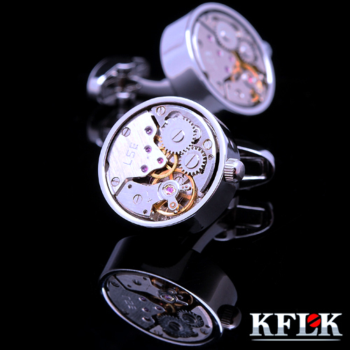 KFLK jewelry shirt cufflinks for mens Brand cuff buttons Silver watch movement cuff links High Quality abotoaduras Jewelry kflk jewelry fashion shirt cufflinks for mens gift brand cuff links buttons blue high quality abotoaduras gemelos free shipping